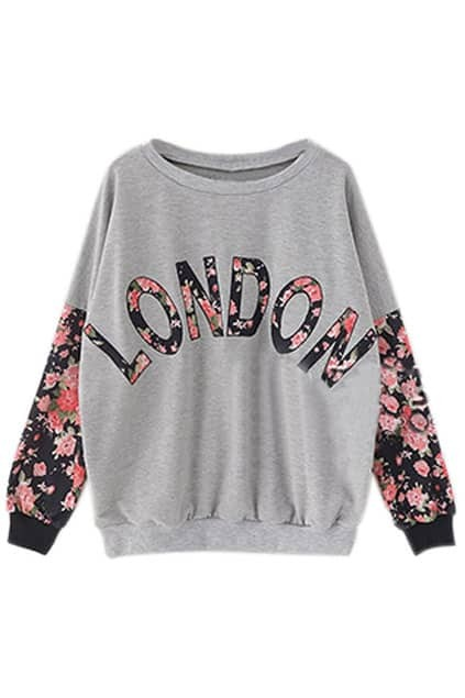 London Printed Roses Sleeves Grey Sweatshirt