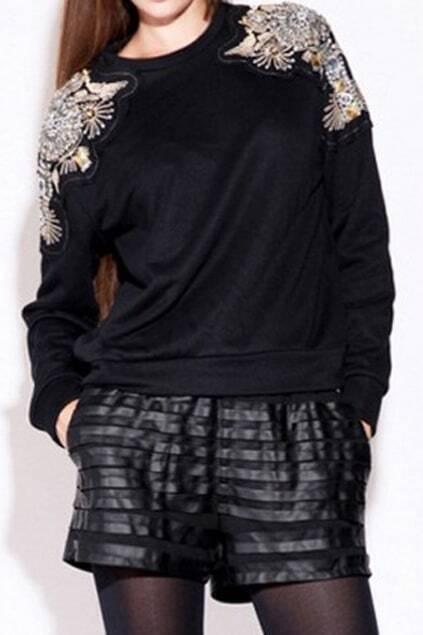 ROMWE Embroidered Diamante Beaded Shoulder Black Sweatshirt