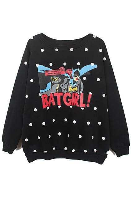 Romwe BATGIRL! & Polka Dots Print Black Sweatshirt