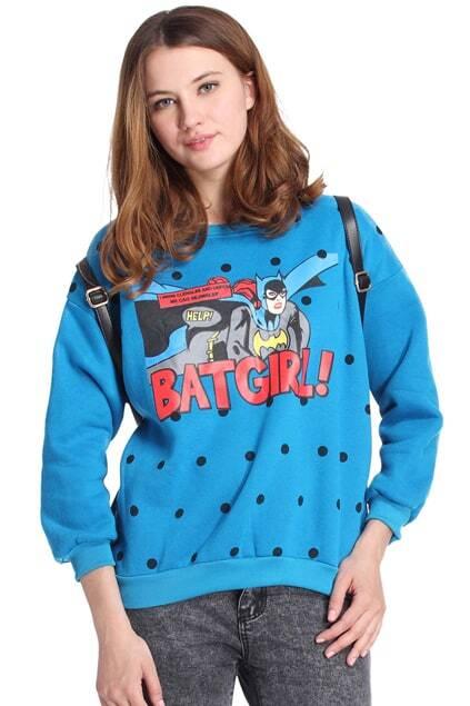 Romwe BATGIRL! & Polka Dots Print Blue Sweatshirt