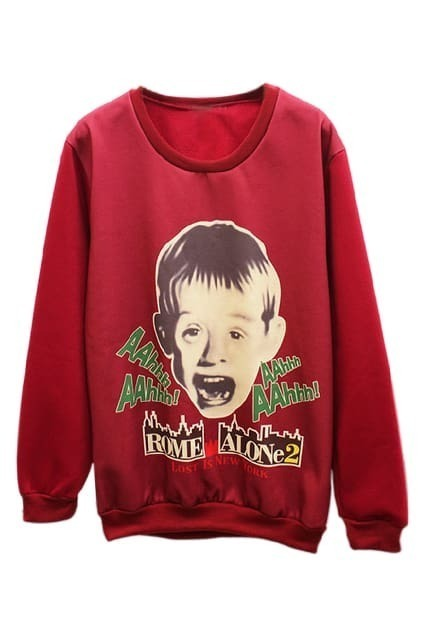 ROMWE Letters&Boy Print Long Sleeves Red Sweatshirt