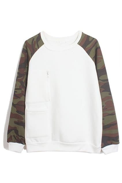 ROMWE Camouflage Zippered Long Sleeves White Sweatshirt