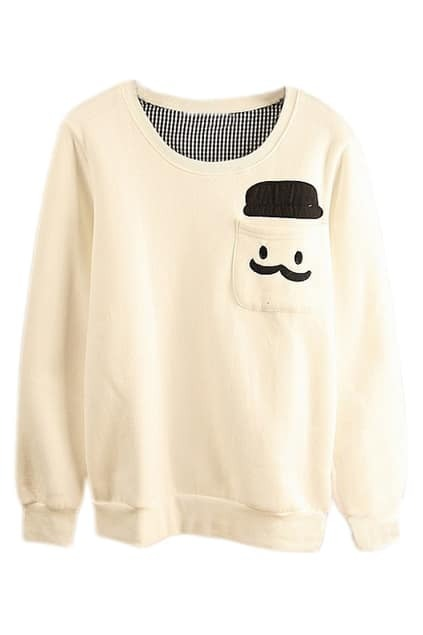 ROMWE Human Head Appliqued Pocketed White Sweatshirt