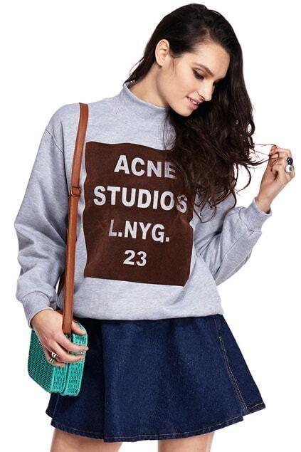 ROMWE Letters Print Sheer Grey Sweatshirt