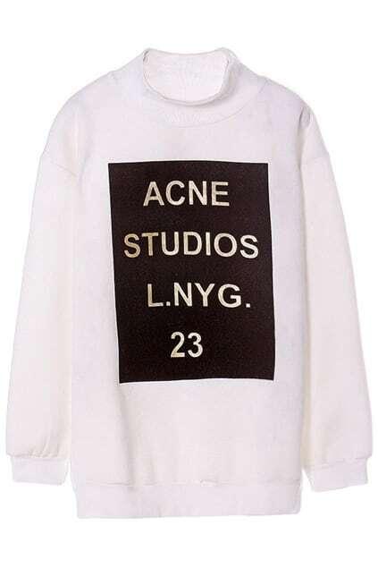ROMWE Letters Crochet Sheer White Sweatshirt