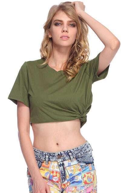 Knoted Hem Green Midriff T-shirt