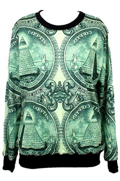 ROMWE Egyptian Pyramids Print Long-sleeved Sweatshirt