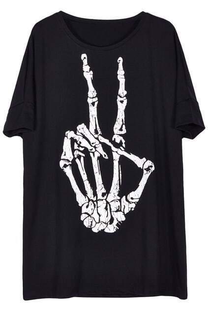 ROMWE Skeleton Peace Gesture Print Short-sleeved T-shirt