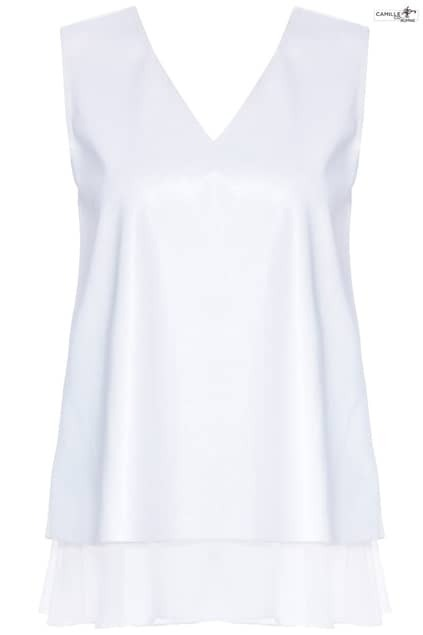 ROMWE Bowknot Embellished Sleeveless White Vinyl T-shirt