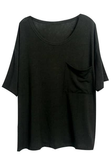 Asymmetric One Pocket Black T-shirt