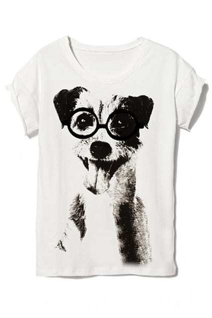 Lovely Dog Print White T-shirt