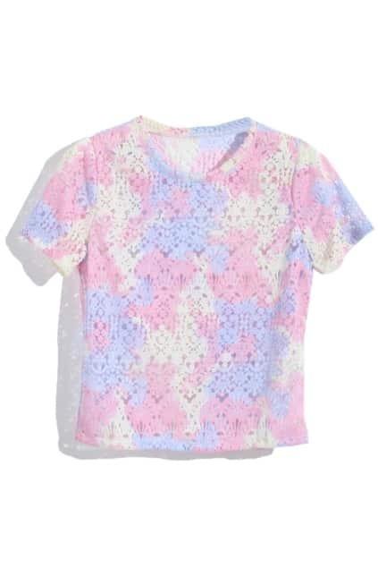 Floral Lace Gradient Pink T-shirt