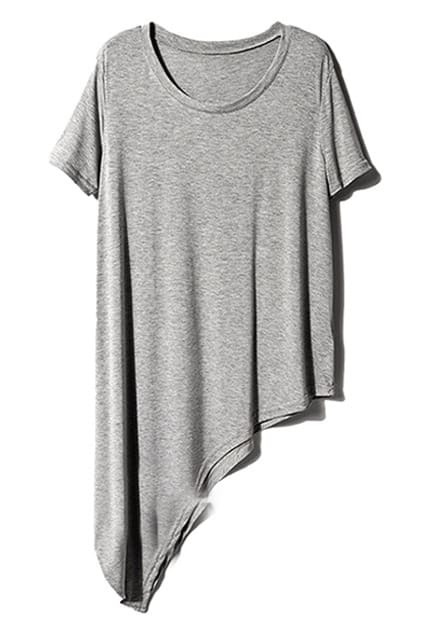 Asymmetric Hem Pleated Grey T-shirt