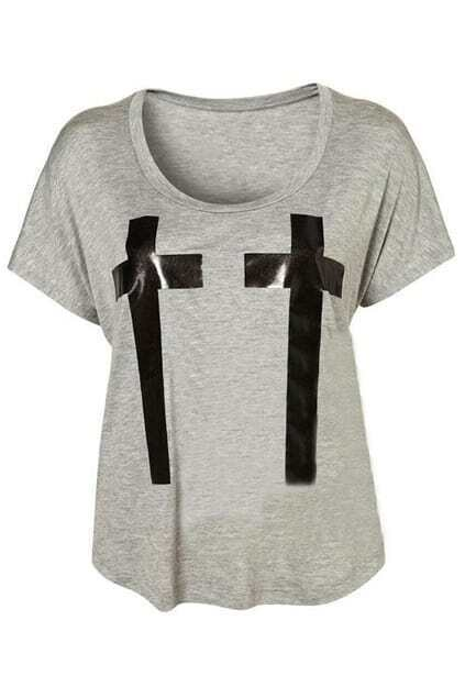 Twin Glossy Crosses Grey T-shirt