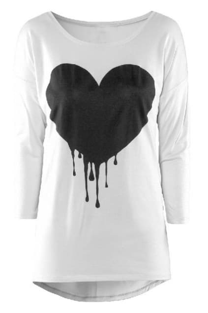 Melting Heart Print White T-shirt