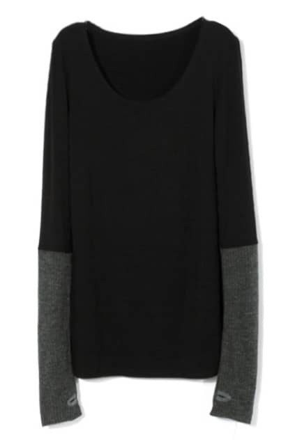 Panel Knitted Sleeves Black T-shirt
