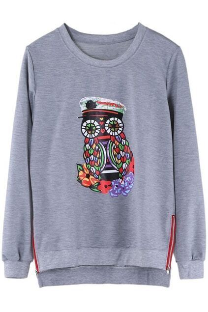 Owl Printed Oversied Grey Pullover