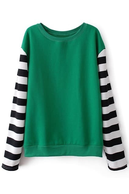Striped Sleeves Green Sweatershirt