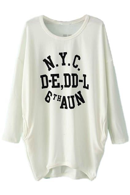 Contrast Printed White Long Sweatshirt
