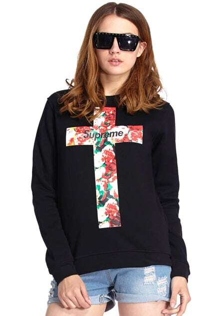 ROMWE Cross & Floral Print Black Sweatshirt