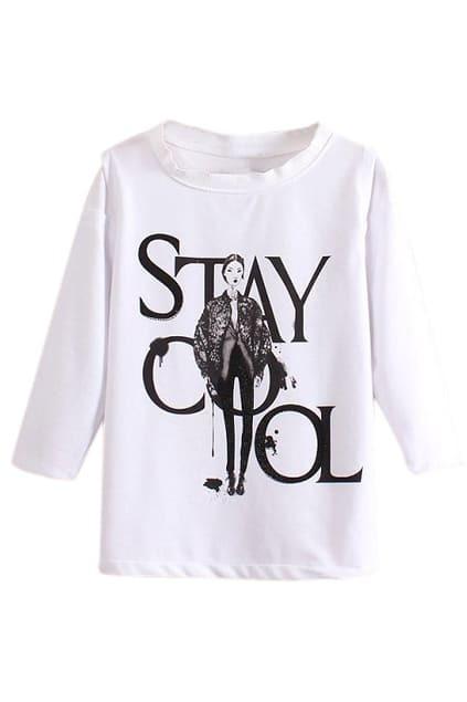 ROMWE Beaded Beauty & Letters Print Crop White T-shirt