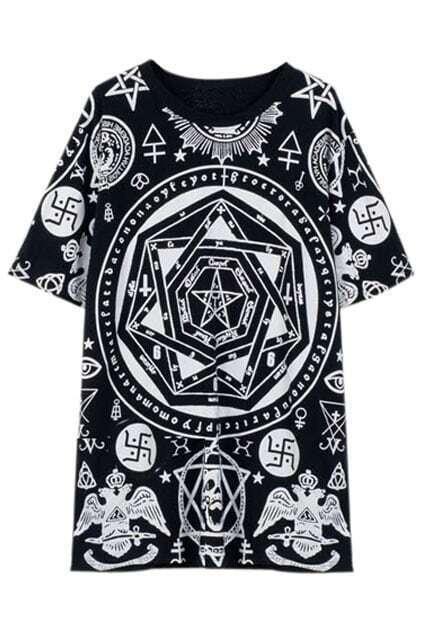 Hexagram Pentagram Skull Black T-shirt