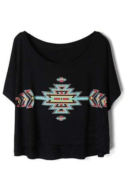 Geometric Pattern Print Loose Black T-shirt