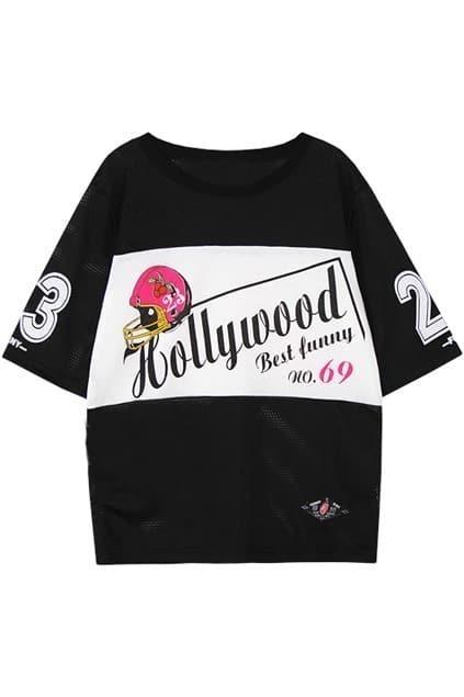 Hollowed Helmet Hollywood & Number Black T-shirt