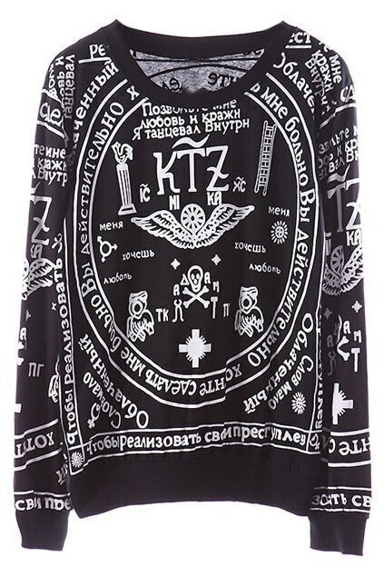 KTZ Religious Pattern Black Sweatshirt