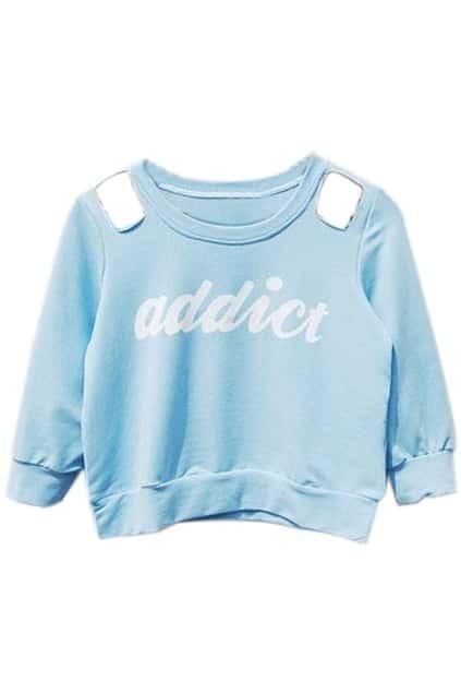 Off Shoulder Letters Print Blue Sweatshirt