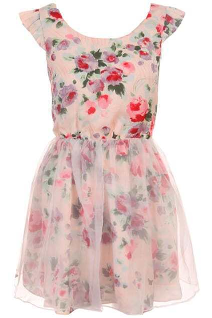 Ink Painting Floral Puff Dress