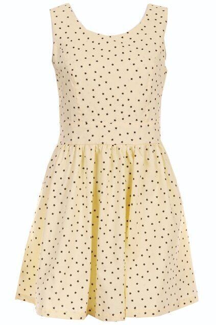 Five Star Print Yellow Dress