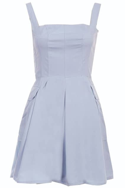 Pocketed Blue Bandeau Dress