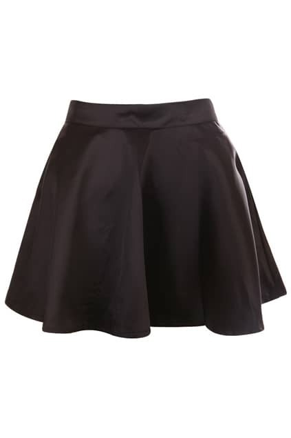 Black Satin Draped Skirt