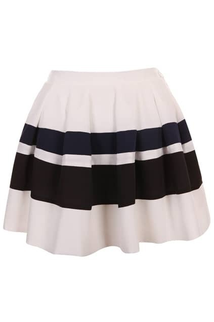 Blue-black Stripe Puff Skirt
