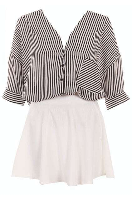Two-piece Black Striped Puff Skirt Set