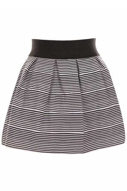 Elastic Pleated Striped Bubble Skirt
