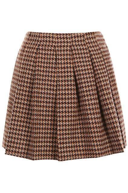 ROMWE Houndstooth Print Pleated Brown Skirt