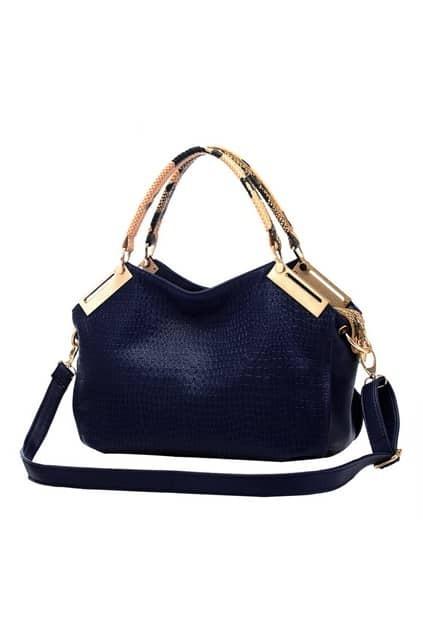 ROMWE Metal Embellishment Navy-blue Bag
