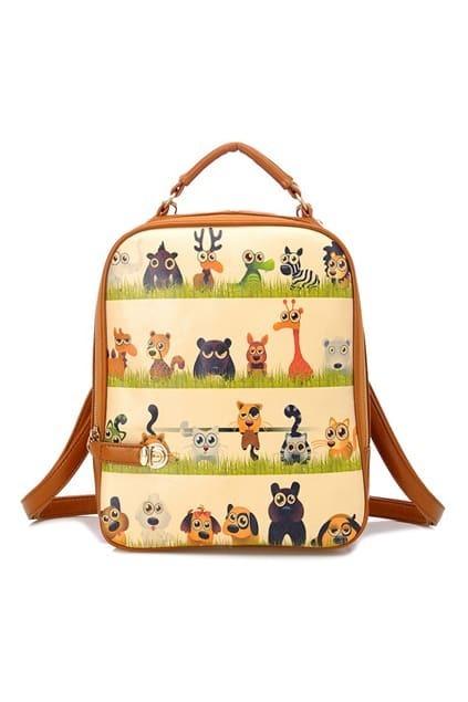 ROMWE Animals United Print PU Backpack