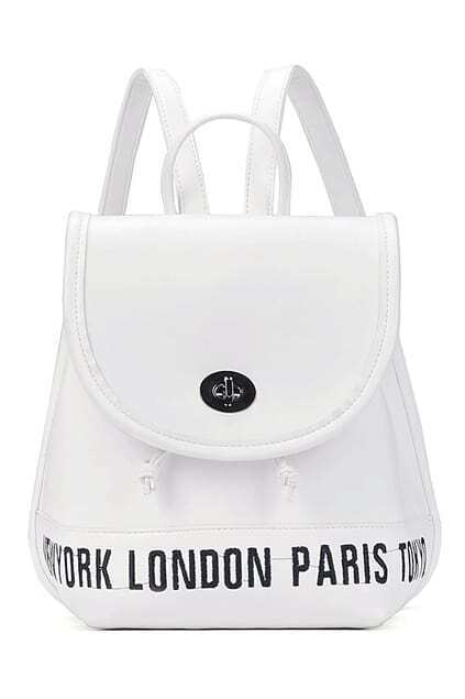 ROMWE Letter Embroidered Drawstring White Backpack