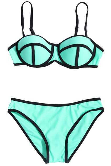 ROMWE Eye-like Cup Low-rise Sheer Green Bikini