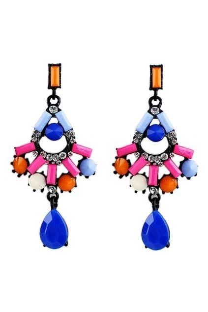 ROMWE Colorful Diamante Earrings