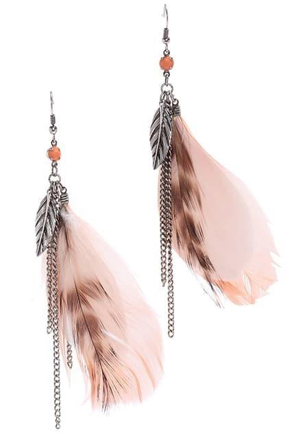 ROMWE Tassels & Leaves Pendant Feather Earrings