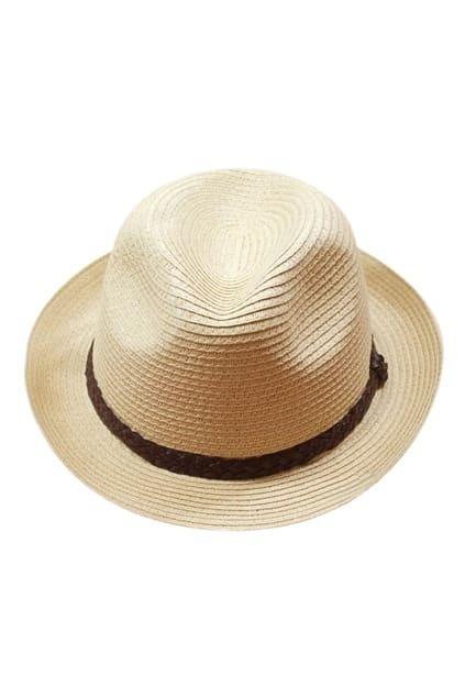 ROMWE PU Panel Kintted Fashion Cream Hat