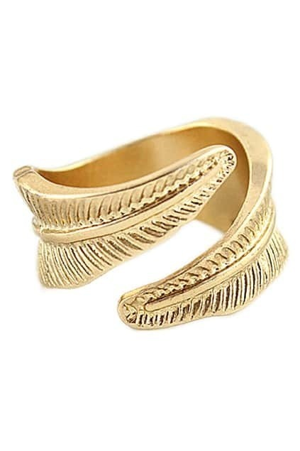 ROMWE Leaf Shaped Gold Ring