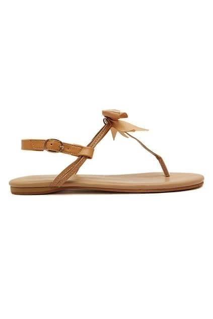 ROMWE Self-tied Bowknot Buckled Brown Sandals