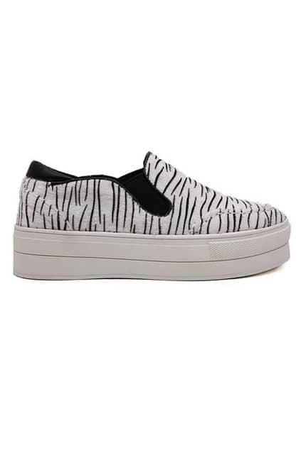 ROMWE Zebra Print Platform White Sneaker