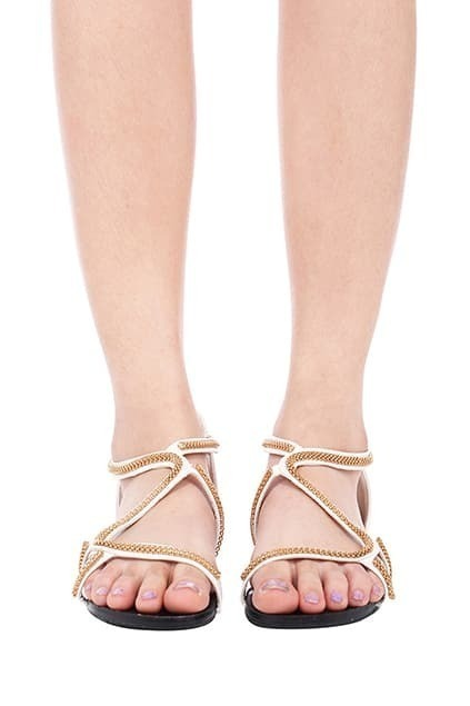 ROMWE Golden Chain Embellished White Sandals