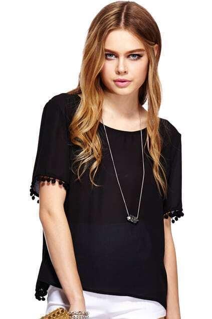 ROMWE Sheer Black Chiffon Short-sleeved T-shirt